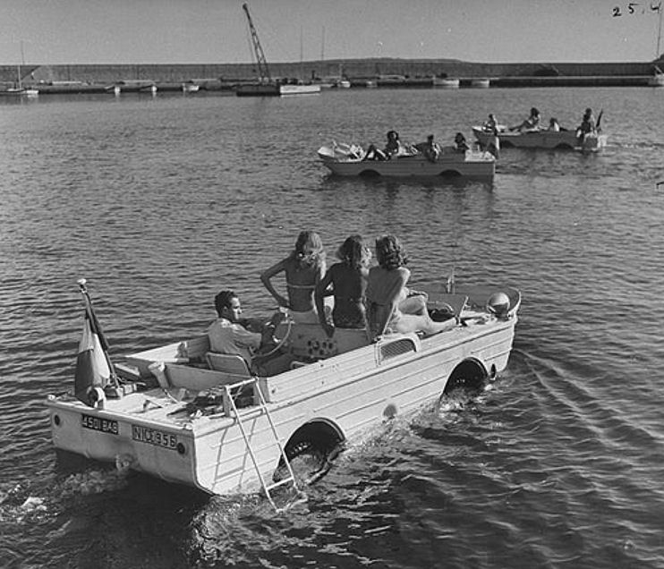 amphibious jeep converted into a pleasure craft on the French Riviera.jpg