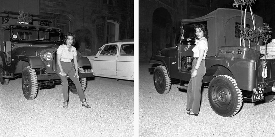 Italian actress Anna Magnani posing next to her jeep in her mansion's courtyard. Italy 5th July 1957 .jpg